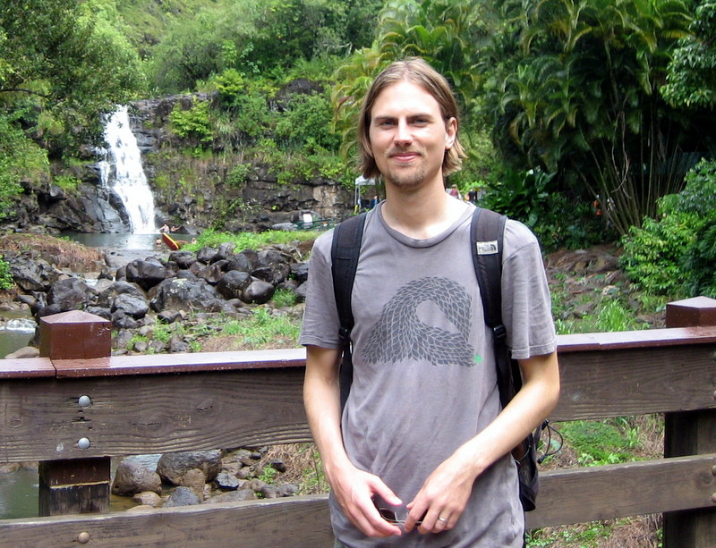 Picture of Johannes in Hawaii by a Waterfall